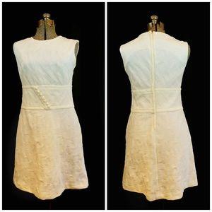 VTG 60's 70's Ivory Textured Poly Shift Dress XS